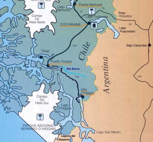 92.jezioro o'higgins mapa